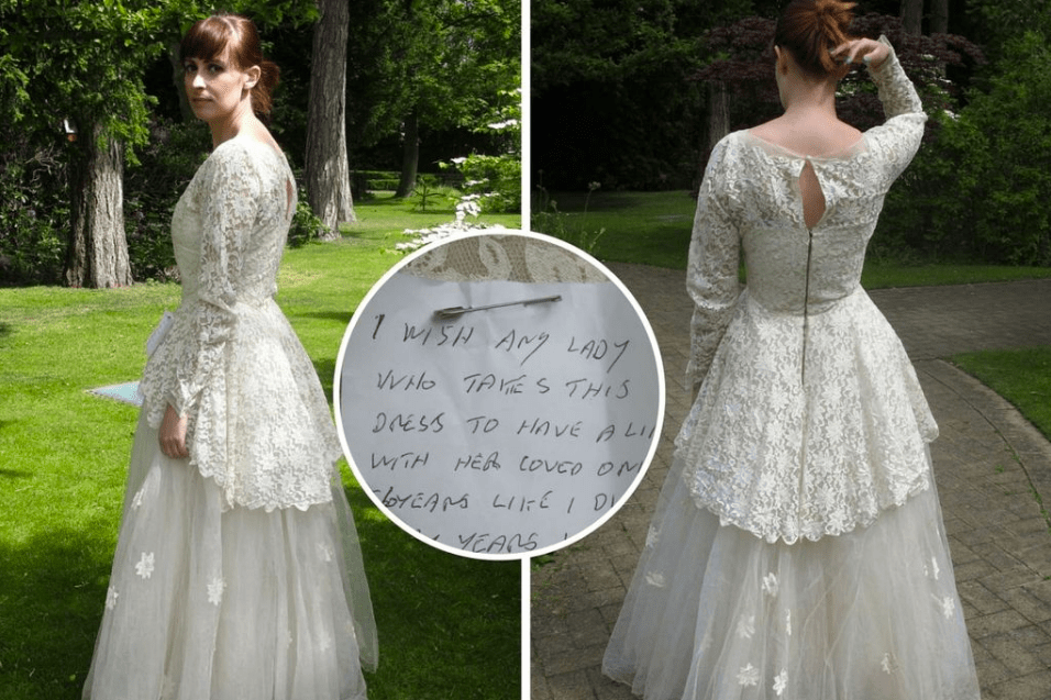 Wedding Dress With Note : Mysterious note found on wedding dress goes viral